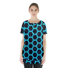 HEXAGON2 BLACK MARBLE & TURQUOISE COLORED PENCIL (R) Skirt Hem Sports Top