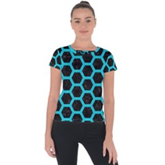 HEXAGON2 BLACK MARBLE & TURQUOISE COLORED PENCIL (R) Short Sleeve Sports Top