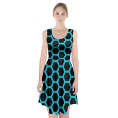 HEXAGON2 BLACK MARBLE & TURQUOISE COLORED PENCIL (R) Racerback Midi Dress