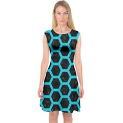 HEXAGON2 BLACK MARBLE & TURQUOISE COLORED PENCIL (R) Capsleeve Midi Dress