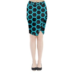 HEXAGON2 BLACK MARBLE & TURQUOISE COLORED PENCIL (R) Midi Wrap Pencil Skirt