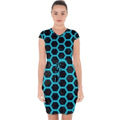 HEXAGON2 BLACK MARBLE & TURQUOISE COLORED PENCIL (R) Capsleeve Drawstring Dress