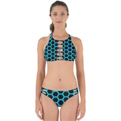 HEXAGON2 BLACK MARBLE & TURQUOISE COLORED PENCIL (R) Perfectly Cut Out Bikini Set