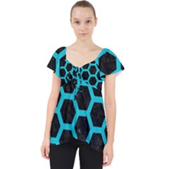 HEXAGON2 BLACK MARBLE & TURQUOISE COLORED PENCIL (R) Lace Front Dolly Top