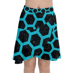 HEXAGON2 BLACK MARBLE & TURQUOISE COLORED PENCIL (R) Chiffon Wrap