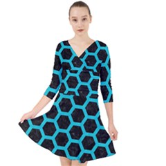 HEXAGON2 BLACK MARBLE & TURQUOISE COLORED PENCIL (R) Quarter Sleeve Front Wrap Dress