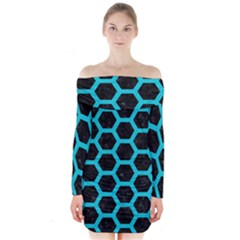 HEXAGON2 BLACK MARBLE & TURQUOISE COLORED PENCIL (R) Long Sleeve Off Shoulder Dress
