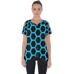HEXAGON2 BLACK MARBLE & TURQUOISE COLORED PENCIL (R) Cut Out Side Drop Tee