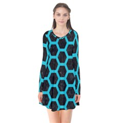 HEXAGON2 BLACK MARBLE & TURQUOISE COLORED PENCIL (R) Flare Dress