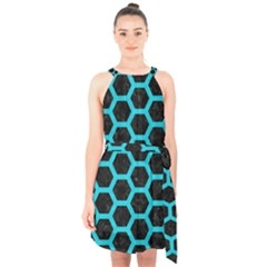 HEXAGON2 BLACK MARBLE & TURQUOISE COLORED PENCIL (R) Halter Collar Waist Tie Chiffon Dress