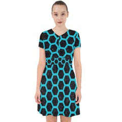HEXAGON2 BLACK MARBLE & TURQUOISE COLORED PENCIL (R) Adorable in Chiffon Dress