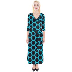 HEXAGON2 BLACK MARBLE & TURQUOISE COLORED PENCIL (R) Quarter Sleeve Wrap Maxi Dress