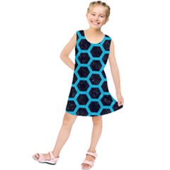 HEXAGON2 BLACK MARBLE & TURQUOISE COLORED PENCIL (R) Kids  Tunic Dress