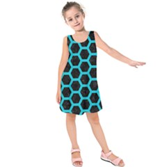 HEXAGON2 BLACK MARBLE & TURQUOISE COLORED PENCIL (R) Kids  Sleeveless Dress