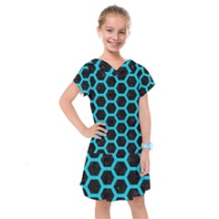 HEXAGON2 BLACK MARBLE & TURQUOISE COLORED PENCIL (R) Kids  Drop Waist Dress