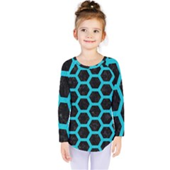 HEXAGON2 BLACK MARBLE & TURQUOISE COLORED PENCIL (R) Kids  Long Sleeve Tee