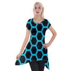 HEXAGON2 BLACK MARBLE & TURQUOISE COLORED PENCIL (R) Short Sleeve Side Drop Tunic