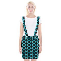 HEXAGON2 BLACK MARBLE & TURQUOISE COLORED PENCIL (R) Braces Suspender Skirt
