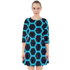 HEXAGON2 BLACK MARBLE & TURQUOISE COLORED PENCIL (R) Smock Dress