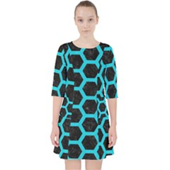HEXAGON2 BLACK MARBLE & TURQUOISE COLORED PENCIL (R) Pocket Dress