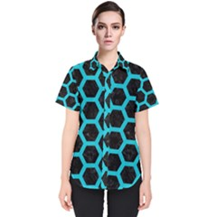 HEXAGON2 BLACK MARBLE & TURQUOISE COLORED PENCIL (R) Women s Short Sleeve Shirt