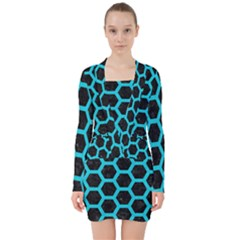 HEXAGON2 BLACK MARBLE & TURQUOISE COLORED PENCIL (R) V-neck Bodycon Long Sleeve Dress