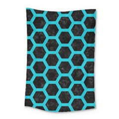 HEXAGON2 BLACK MARBLE & TURQUOISE COLORED PENCIL (R) Small Tapestry