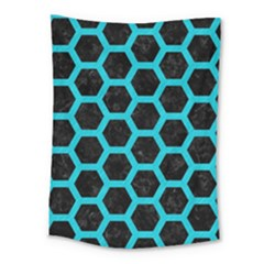 HEXAGON2 BLACK MARBLE & TURQUOISE COLORED PENCIL (R) Medium Tapestry