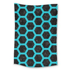 HEXAGON2 BLACK MARBLE & TURQUOISE COLORED PENCIL (R) Large Tapestry