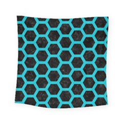 HEXAGON2 BLACK MARBLE & TURQUOISE COLORED PENCIL (R) Square Tapestry (Small)