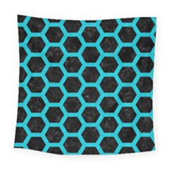 HEXAGON2 BLACK MARBLE & TURQUOISE COLORED PENCIL (R) Square Tapestry (Large)