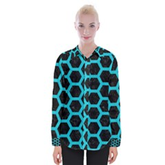HEXAGON2 BLACK MARBLE & TURQUOISE COLORED PENCIL (R) Womens Long Sleeve Shirt