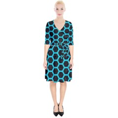 HEXAGON2 BLACK MARBLE & TURQUOISE COLORED PENCIL (R) Wrap Up Cocktail Dress