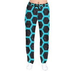 HEXAGON2 BLACK MARBLE & TURQUOISE COLORED PENCIL (R) Drawstring Pants