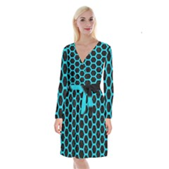 HEXAGON2 BLACK MARBLE & TURQUOISE COLORED PENCIL (R) Long Sleeve Velvet Front Wrap Dress