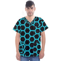HEXAGON2 BLACK MARBLE & TURQUOISE COLORED PENCIL (R) Men s V-Neck Scrub Top