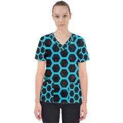 HEXAGON2 BLACK MARBLE & TURQUOISE COLORED PENCIL (R) Scrub Top