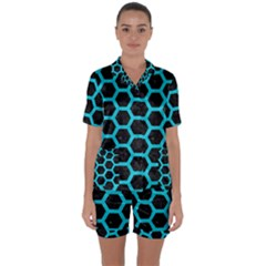 HEXAGON2 BLACK MARBLE & TURQUOISE COLORED PENCIL (R) Satin Short Sleeve Pyjamas Set