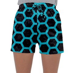 HEXAGON2 BLACK MARBLE & TURQUOISE COLORED PENCIL (R) Sleepwear Shorts