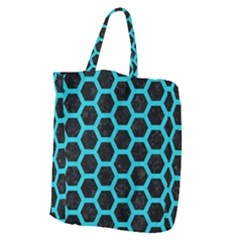 HEXAGON2 BLACK MARBLE & TURQUOISE COLORED PENCIL (R) Giant Grocery Zipper Tote