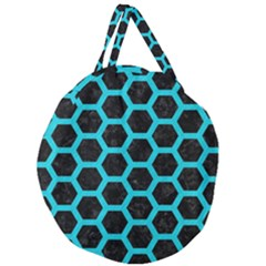 HEXAGON2 BLACK MARBLE & TURQUOISE COLORED PENCIL (R) Giant Round Zipper Tote