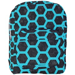 HEXAGON2 BLACK MARBLE & TURQUOISE COLORED PENCIL (R) Full Print Backpack