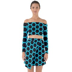 HEXAGON2 BLACK MARBLE & TURQUOISE COLORED PENCIL (R) Off Shoulder Top with Skirt Set