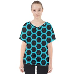 HEXAGON2 BLACK MARBLE & TURQUOISE COLORED PENCIL (R) V-Neck Dolman Drape Top