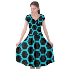 HEXAGON2 BLACK MARBLE & TURQUOISE COLORED PENCIL (R) Cap Sleeve Wrap Front Dress