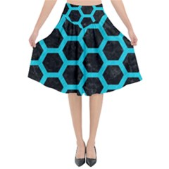 HEXAGON2 BLACK MARBLE & TURQUOISE COLORED PENCIL (R) Flared Midi Skirt