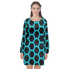 HEXAGON2 BLACK MARBLE & TURQUOISE COLORED PENCIL (R) Long Sleeve Chiffon Shift Dress