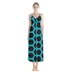 HEXAGON2 BLACK MARBLE & TURQUOISE COLORED PENCIL (R) Button Up Chiffon Maxi Dress