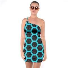 HEXAGON2 BLACK MARBLE & TURQUOISE COLORED PENCIL (R) One Soulder Bodycon Dress