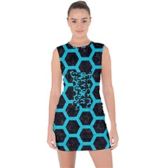HEXAGON2 BLACK MARBLE & TURQUOISE COLORED PENCIL (R) Lace Up Front Bodycon Dress